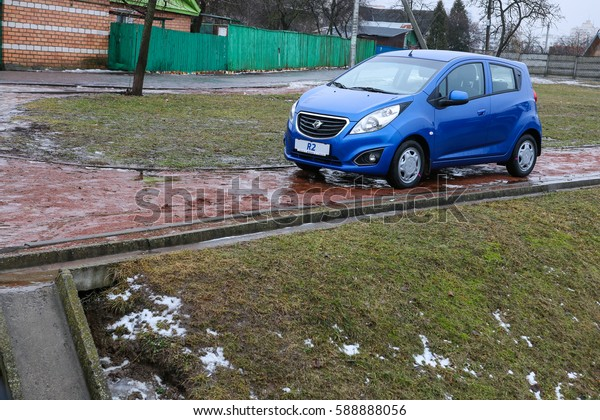 MINSK, BELARUS FEBRUARY 27, 2017: New Chevrolet Ravon R2 with automatic transmission at the test drive event for automotive journalists from Minsk