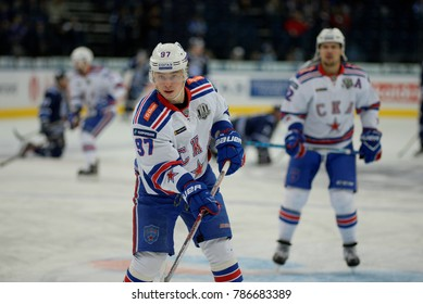 Minsk, Belarus - FEBRUARY 29, 2017: NIKITA GUSEV (97) forward of SKA skates up the ice before the game between Dinamo-Minsk and SKA at the Minsk-Arena in Minsk