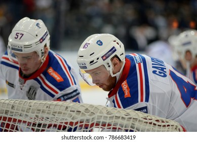 Minsk, Belarus - FEBRUARY 29, 2017: VLADISLAV GAVRIKOV (46) defensemen of SKA(R) and YEGOR RYKOV (57) defensemen of SKA before the game between Dinamo-Minsk and SKA at the Minsk-Arena in Minsk