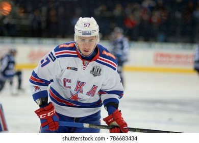Minsk, Belarus - FEBRUARY 29, 2017: YEGOR RYKOV (57) defensemen of SKA looks on before the game between Dinamo-Minsk and SKA at the Minsk-Arena in Minsk