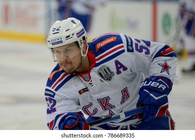 Minsk, Belarus - FEBRUARY 29, 2017: SERGEI SHIROKOV (52) forward of SKA skates up the ice before the game between Dinamo-Minsk and SKA at the Minsk-Arena in Minsk