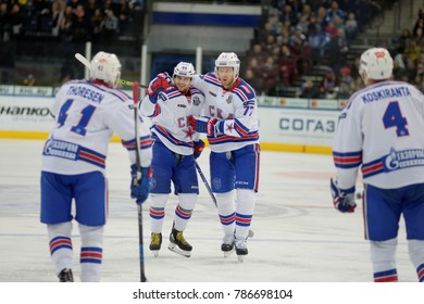 Minsk, Belarus - FEBRUARY 29, 2017: YEGOR YAKOVLEV (44) defensemen of SKA(L) and ANTON BELOV (77) defensemen of SKA celebrates during the game between Dinamo-Minsk and SKA at the Minsk-Arena in Minsk