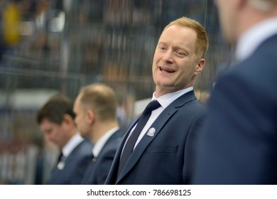Minsk, Belarus - FEBRUARY 29, 2017: Gordie Dwyer, Head Coach of Dinamo-Minsk react during the game between Dinamo-Minsk and SKA at the Minsk-Arena in Minsk
