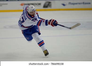 Minsk, Belarus - FEBRUARY 29, 2017: ILYA KOVALCHUK (17) forward of SKA shoot the puck during the game between Dinamo-Minsk and SKA at the Minsk-Arena in Minsk