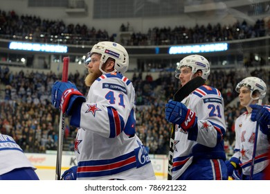 Minsk, Belarus - FEBRUARY 29, 2017: PATRICK THORESEN (41) forward of SKA and SERGEI KALININ (21) forward of SKA looks on during the game between Dinamo-Minsk and SKA at the Minsk-Arena in Minsk