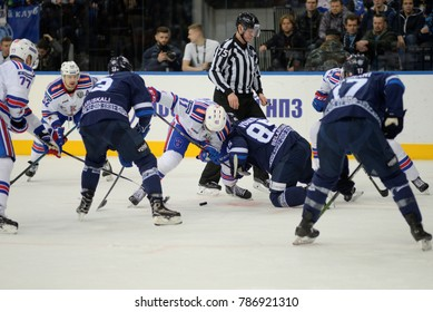 Minsk, Belarus - FEBRUARY 29, 2017: PATRICK THORESEN (41) forward of SKA and Artyom Volkov (85) forward of Dinamo-Minsk battle for the puck during the game between Dinamo-Minsk and SKA