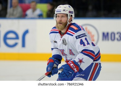 Minsk, Belarus - FEBRUARY 29, 2017: PATRICK THORESEN (41) forward of SKA looks on during the game between Dinamo-Minsk and SKA at the Minsk-Arena in Minsk