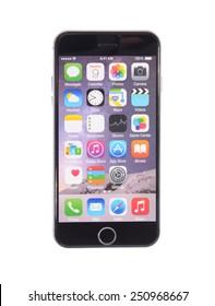 Minsk, Belarus - February 4, 2015: iPhone 6. Isolated on White Background.
