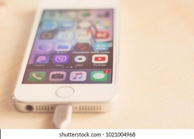 500 Paypal App On Iphone On Wooden Table Pictures Royalty Free