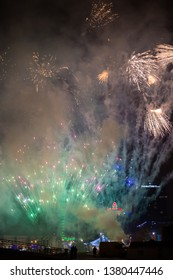 Explosive Colorful Holiday Fireworks Night Sky Stock Photo (Edit Now