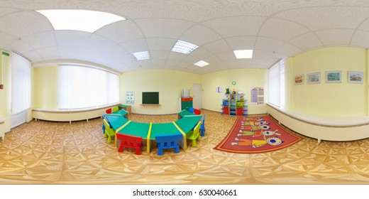 MINSK, BELARUS - JANUARY 14, 2012: full 360 degree seamless panorama in equirectangular spherical equidistant projection. Panorama in interior of A class of children's development, VR content