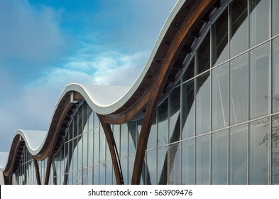 MINSK, BELARUS - January 15, 2017: Sports complex Olympic reserve. Pool National Olympic Training Center in athletics in Minsk, Belarus. Design of arched roof and stained glass system. Winter view
