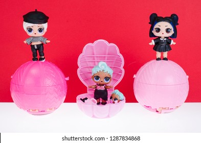 Minsk, Belarus - January 16, 2019: Cute little L.O.L. Surprise dolls on balls. LOL - Lil Outrageous Littles surprise toy from MGA Entertainment, also create toys: Lalaloopsy, Num-Noms, Bratz.