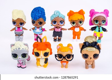 Minsk, Belarus - January 16, 2019: Many different little L.O.L. on a white background. Surprise dolls. LOL - Lil Outrageous Littles surprise toy from MGA Entertainment, also create toys: Lalaloopsy