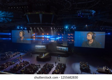 MINSK, BELARUS - JANUARY 17, 2016 Starladder iLeague championship Dota 2 and Counter Strike Global Offensive. Top view of the stage with the Dota 2 bowl.