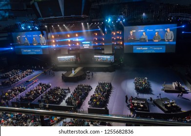MINSK, BELARUS - JANUARY 17, 2016 Starladder iLeague championship Dota 2 and Counter Strike Global Offensive. Top view of the visitors sitting in opposite to the main stage.
