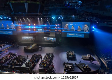 MINSK, BELARUS - JANUARY 17, 2016 Starladder iLeague championship Dota 2 and Counter Strike Global Offensive. Top view of the broadcasting screen and visitors sitting in opposite to the main stage.