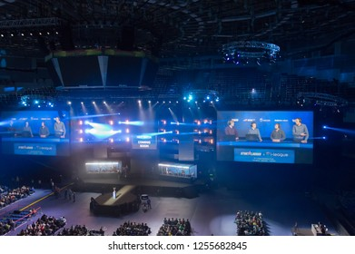 MINSK, BELARUS - JANUARY 17, 2016 Starladder championship of Dota 2 and Counter Strike Global Offensive. Top view of the stage and the broadcasting screen.
