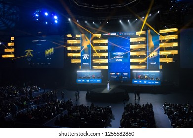 MINSK, BELARUS - JANUARY 17, 2016 Starladder iLeague championship Dota 2 and Counter Strike Global Offensive. Esports arena side view
