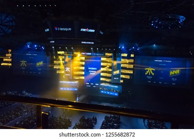 MINSK, BELARUS - JANUARY 17, 2016 Starladder championship of Dota 2 and Counter Strike: Global Offensive. Esports arena side view