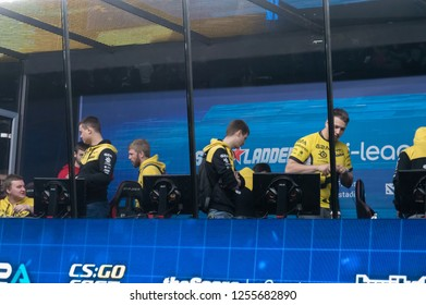 MINSK, BELARUS - JANUARY 17, 2016 Starladder iLeague championship Dota 2 and Counter Strike Global Offensive. NaVi team preparing to the competition in the gaming cabin.
