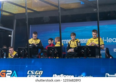 MINSK, BELARUS - JANUARY 17, 2016 Starladder championship of Dota 2 and Counter Strike: Global Offensive. NaVi team preparing to the competition in the gaming cabin.