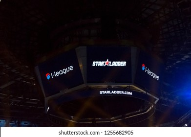 MINSK, BELARUS - JANUARY 17, 2016 Starladder iLeague championship Dota 2 and Counter Strike Global Offensive. Close-up view of the screens with Starladder and iLeague logotypes