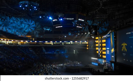 MINSK, BELARUS - JANUARY 17, 2016 Starladder iLeague championship Dota 2 and Counter Strike Global Offensive. Side view of the stadium full of visitors.