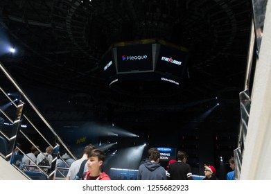 MINSK, BELARUS - JANUARY 17, 2016 Starladder iLeague championship Dota 2 and Counter Strike Global Offensive. People walking the visitors area