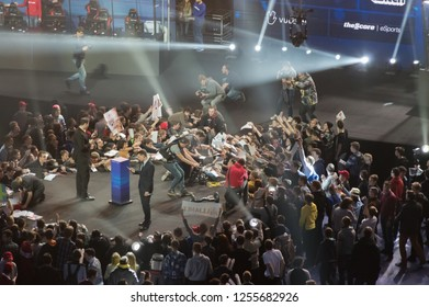 MINSK, BELARUS - JANUARY 17, 2016 Starladder championship of Dota 2 and Counter Strike: Global Offensive. Team Alliance giving an autographs to the fans after their win the championship.
