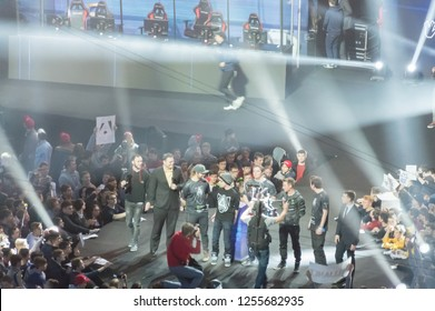 MINSK, BELARUS - JANUARY 17, 2016 Starladder iLeague championship Dota 2 and Counter Strike Global Offensive. Team Alliance holding Dota 2 bowl as a winner of the championship and giving the interview