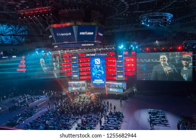 MINSK, BELARUS - JANUARY 17, 2016 Starladder championship of Dota 2 and Counter Strike: Global Offensive. Top view of the competition arena.
