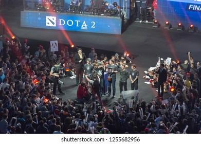 MINSK, BELARUS - JANUARY 17, 2016 Starladder championship of Dota 2 and Counter Strike: Global Offensive. Team Alliance holding Dota 2 bowl as a winner of the championship.