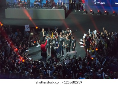 MINSK, BELARUS - JANUARY 17, 2016 Starladder iLeague championship Dota 2 and Counter Strike Global Offensive. Team Alliance holding Dota 2 bowl as a winner of the championship.