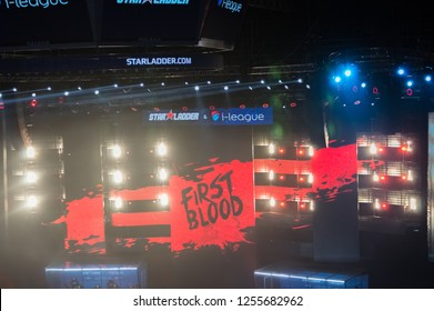MINSK, BELARUS - JANUARY 17, 2016 Starladder iLeague championship Dota 2 and Counter Strike Global Offensive. First blood announcement on the screen.