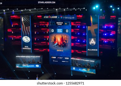 MINSK, BELARUS - JANUARY 17, 2016 Starladder championship of Dota 2 and Counter Strike: Global Offensive. Evil Genius versus Team Alliance. Match Score screen.