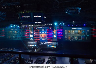 MINSK, BELARUS - JANUARY 17, 2016 Starladder iLeague championship Dota 2 and Counter Strike Global Offensive. E-sports teams are picking the heroes.
