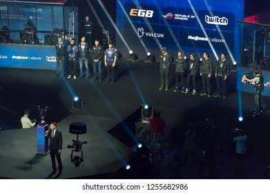 MINSK, BELARUS - JANUARY 17, 2016 Starladder championship of Dota 2 and Counter Strike: Global Offensive. Evil Genius and Alliance team on the stage before the match.