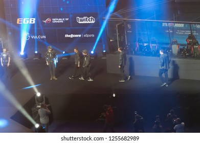 MINSK, BELARUS - JANUARY 17, 2016 Starladder iLeague championship Dota 2 and Counter Strike Global Offensive. Alliance Dota 2 team going to the stage.