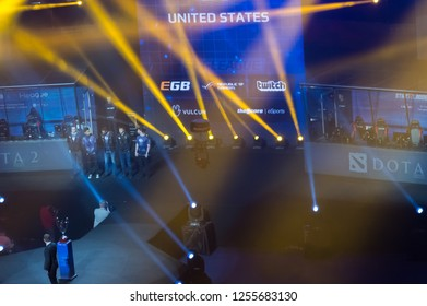 MINSK, BELARUS - JANUARY 17, 2016 Starladder iLeague championship Dota 2 and Counter Strike Global Offensive. Evil Genius Dota 2 team standing on the stage before the competition.