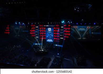 MINSK, BELARUS - JANUARY 17, 2016 Starladder iLeague championship Dota 2 and Counter Strike Global Offensive. Light show before the competition starts.