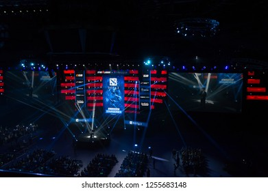 MINSK, BELARUS - JANUARY 17, 2016 Starladder iLeague championship Dota 2 and Counter Strike Global Offensive. The broadcaster announcing the beginning of the battle.