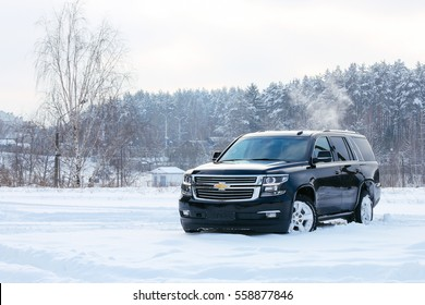 MINSK, BELARUS JANUARY 17, 2017: New Chevrolet Tahoe LTZ V6 at the test drive event for automotive journalists from Minsk