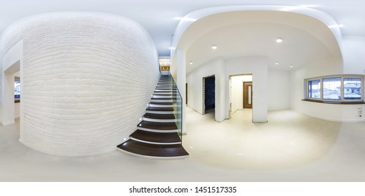 MINSK, BELARUS - JANUARY, 2018: full seamless spherical hdri panorama 360 degres angle view in modern hall without furniture with staircase in equirectangular projection, ready for AR VR content