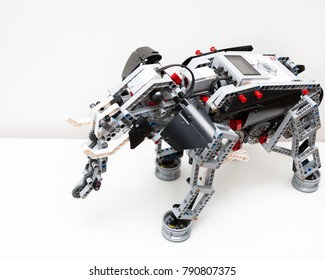 Minsk, Belarus. January, 2018. Lego Robot WeDo. Education of children and teenagers. Stem education. Elementary school.