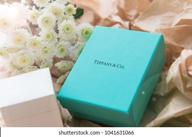 Minsk, Belarus. January, 2018. Tiffany jewelry blue box. The best gift for any holiday. Mock up. Free space for text.