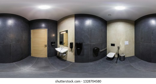 MINSK, BELARUS - JANUARY, 2019: full seamless spherical panorama 360 degrees angle view in interior bathroom restroom in modern public toilet for people with disabilities in equirectangular projection
