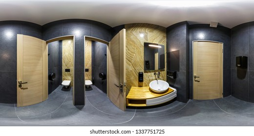 MINSK, BELARUS - JANUARY, 2019: full seamless spherical panorama 360 degrees angle view in interior stylish bathroom restroom in modern public women's toilet in equirectangular projection