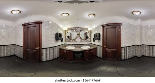 MINSK, BELARUS - JANUARY, 2019: full seamless spherical panorama 360 degrees angle view in interior stylish bathroom restroom in modern public toilet in cafe in equirectangular projection