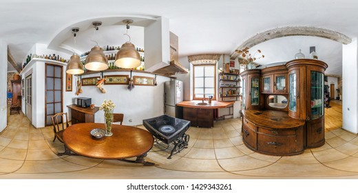 MINSK, BELARUS - JANUARY 2019: full seamless spherical hdri panorama 360 degrees angle view in interior kitchen in flat apartments in retro vintage style in equirectangular projection, VR content